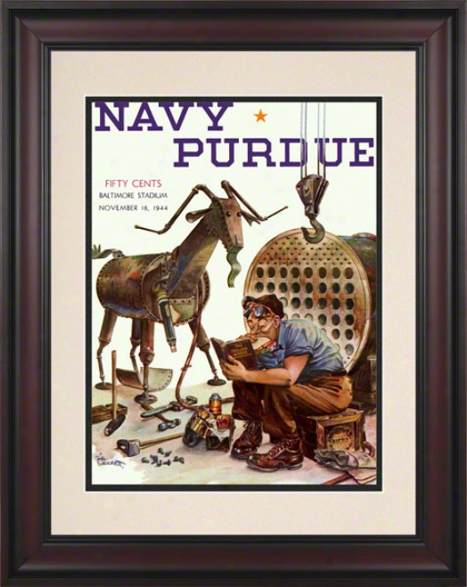 1944 Navy Vs. Purdie 10.5x14 Framed Historic Football Print