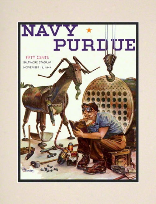 1944 Navy Vs. Purdue 10.5x14 Matted Historic Football Print