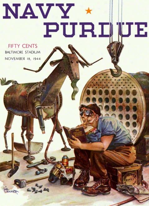 1944 Navy Vs. Purdue 22 X 30 Canvas Historic Football Print