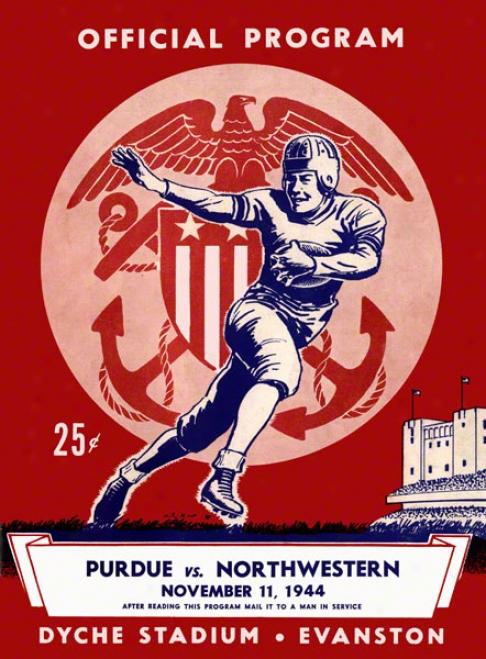 1944 Northwestern Vs. Purdue 22 X 30 Canvas Historic Football Print
