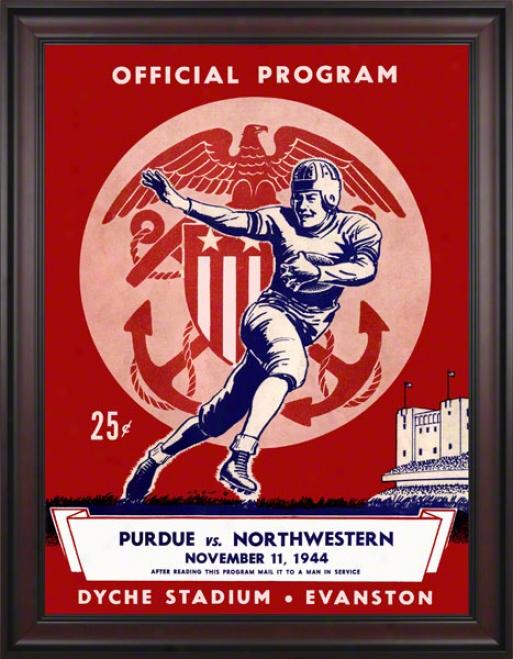 1944 Northwestern Vs. Purdue 36 X 48 Framed Canvas Historic Football Print