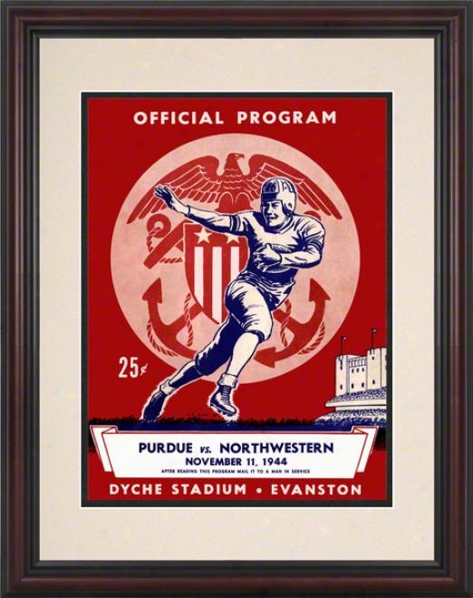 19444 Northwestern Vs. Purue 8.5 X 11 Framed Historic Football Print