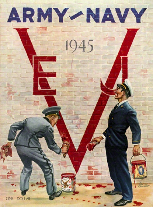 1945 Host Vs. Navy 36 X 48 Canvas Histkric Football Print