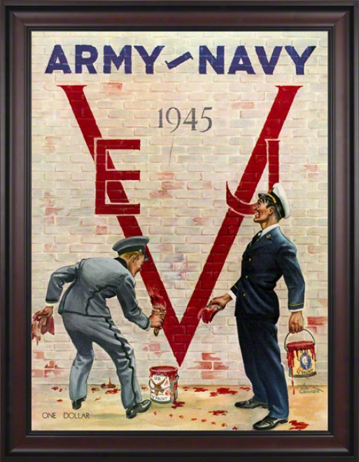 1945 Army Vs. Navy 36 X 48 Framed Canvas Historic Football Print