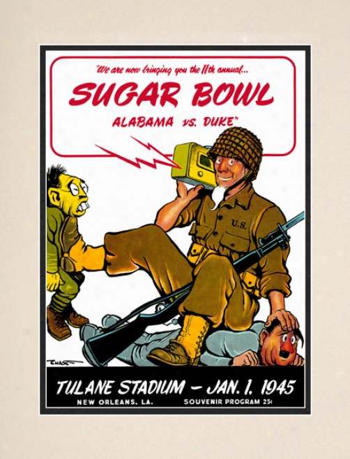 1945 Duke Blue Devils Vs. Alabama Cimson Tide 10.5x14 Matted Historic Football Print