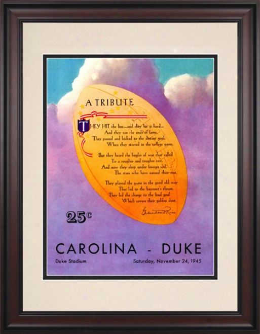 1945 Duke Blue Devils Vs. North Carolina Tar Heels 10.5x14 Framed Historic Football Print