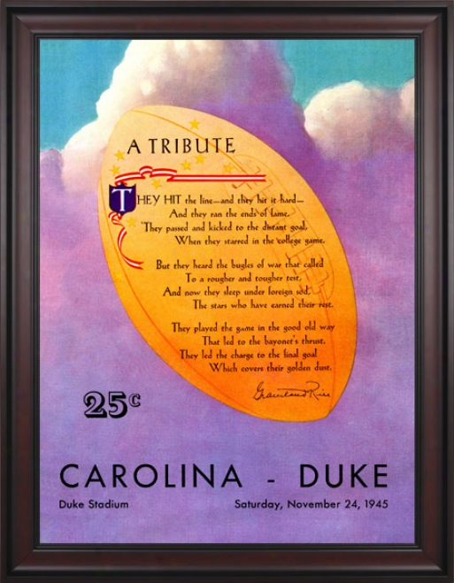 1945 Duke Azure Devkls Vs. North Carolina Tar Heels 36 X 48 Framed Canvas Historif Football Print