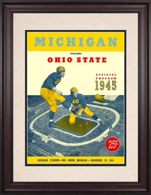 1945 Michigan Wolverines Vs. Ohio State Buckeyes 10.5x14 Framed Historic Football Print