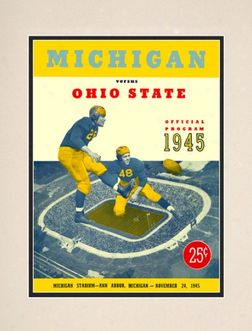 1945 Michigan Wilverines Vs. Ohio State Buckeyes 10.5x14 Matted Historic Football Print