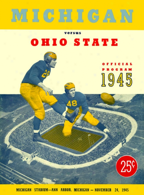 1945 Michigan Wolverines Vs. Ohio State Buckeyes 22 X 30 Canvas Historic Football Print