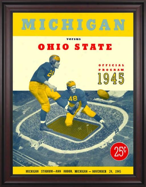 1945 Michigan Wolverines Vs. Ohio State Buckeyes 36 X 48 Framed Canvas Historic Football Print
