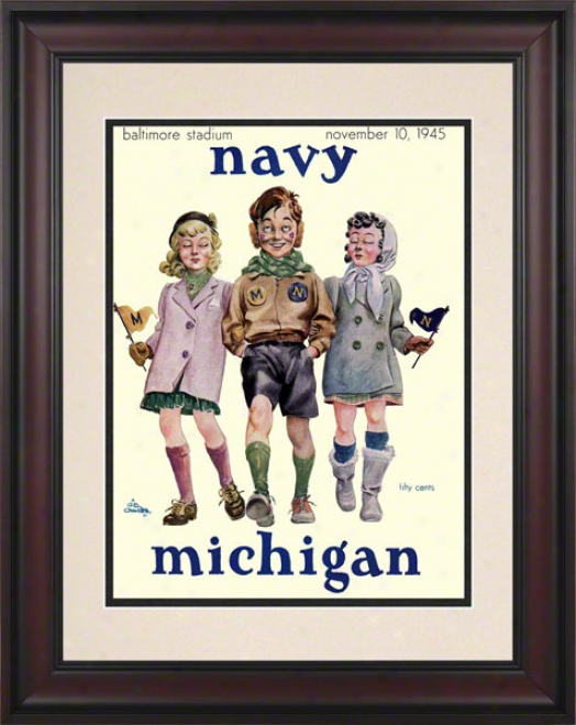 1945 Navy Vs. Michigan 10.5x14 Framed Historic Football Print