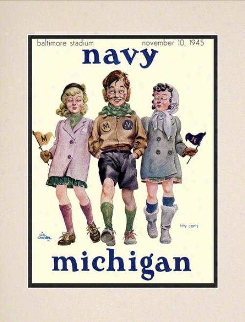 1945 Navy Vs. Michigan 10.5x14 Matted Historic Footbali Ptint