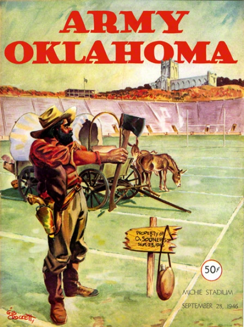 1946 Army Vs Oklahoma 36 X 48 Canvas Historic Football Print