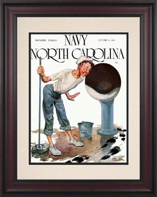 1946 Navy Vs. North Carolina 10.5x14 Framed Historic Football Print