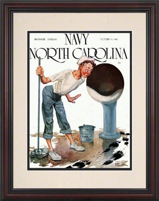 1946 Navy Vs. North Carolina 8.5 X 11 Framed Historic Football Print