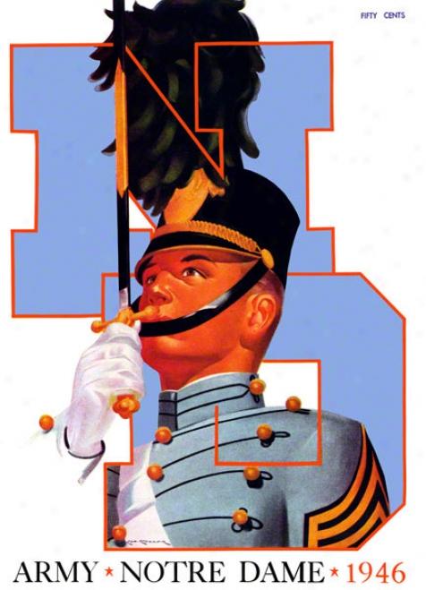 1946 Notre Mistress Fighting Irish Vs Army Black Knights 36 X 48 Canvas Historic Footbll Poster