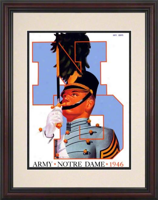 1946 Notre Mistress Fighting Irish Vs Army Black Knights 8.5 X 11 Framed Historic Football Poster