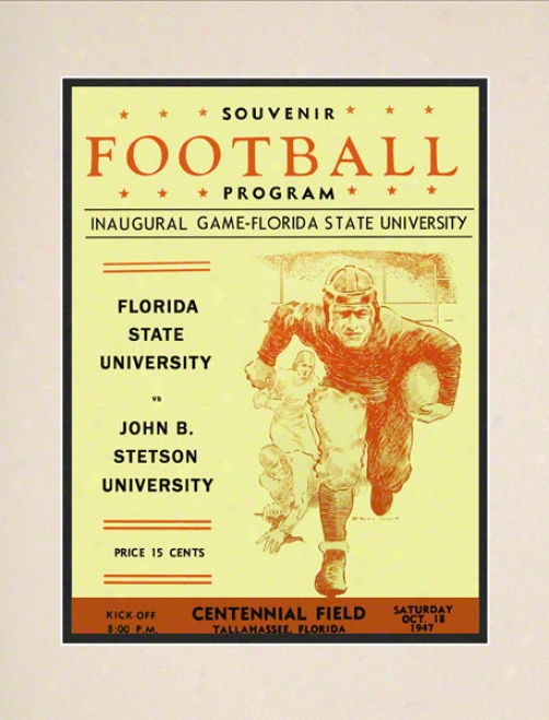 1947 Florida State First Game 10.5x14 Matted Historic Football Print
