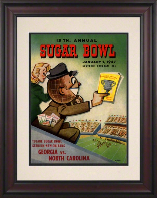 1947 Georgia Vs. North Carolina 10.5x14 Framed Historic Football Print