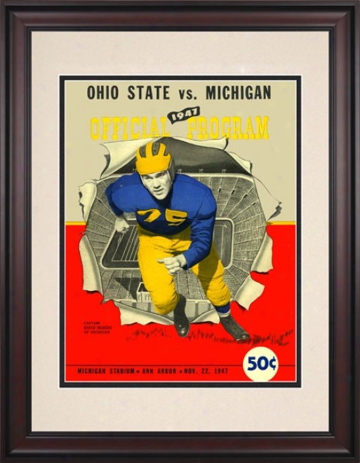 1947 Michigan Wolverines Vs. Ohio State Buckeyes 10.5x14 Framed Historic Football Print