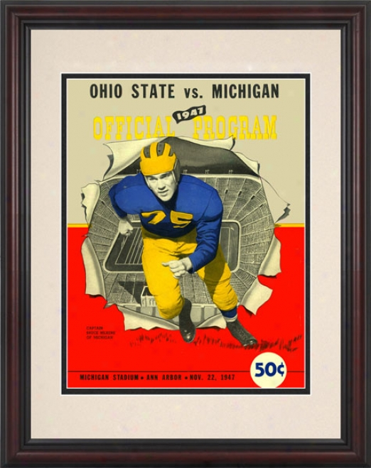 1947 Michigan Wolverines Vs. Ohio Srate Buckeyes 8.5 X 11 Framed Historic Football Print