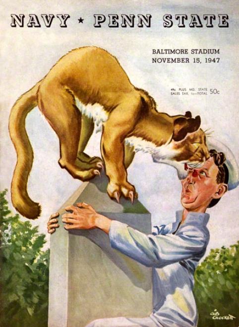 1947 NavyM idshipmen Vs Penn State Nittany Lions 36 X 48 Canvas Historic Football Poster