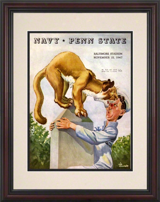 1947 Navy Midshipmen Vs Penn State Nittany Lions 8.5 X 11 Framed Historic Football Posfer
