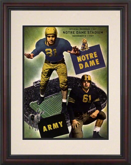 1947 Notre Dame Fighting Irish Vs Army Black Knights 8.5 X 11 Frramed Historic Football Poster