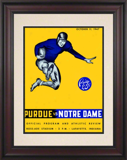 1947 Purdue Boilermakers Vs Notre Dame Fighting Irish 10 1/2 X 14 Framed Historic Football Poster