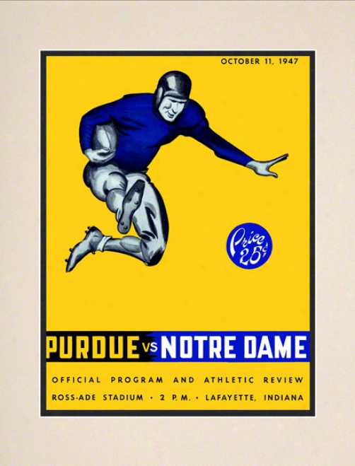1947 Purdue Boilermakers Vs Notre Dame Fighting Irish 10 1/2 X 14 Matted Historic Football Poster