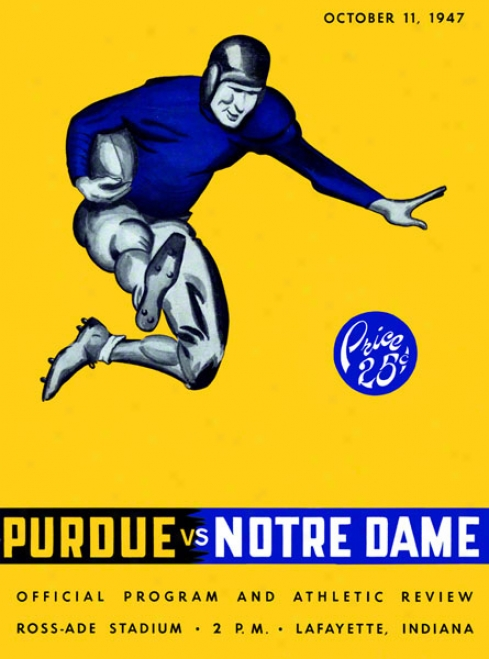 1947 Purdue Boilermakers Vs Notre Dame Fighting Irish 36 X 48 Canvas Historic Football Poster
