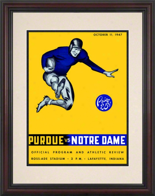 1947 Purdue Boilermakers Vs Notre Dame Fighting Irish 8.5 X 11 Framed Historic Football Poster
