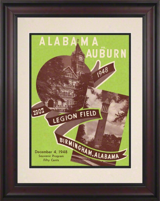 1948 Alabama Vs. Auburn 10.5x14 Framed Historic Football Print
