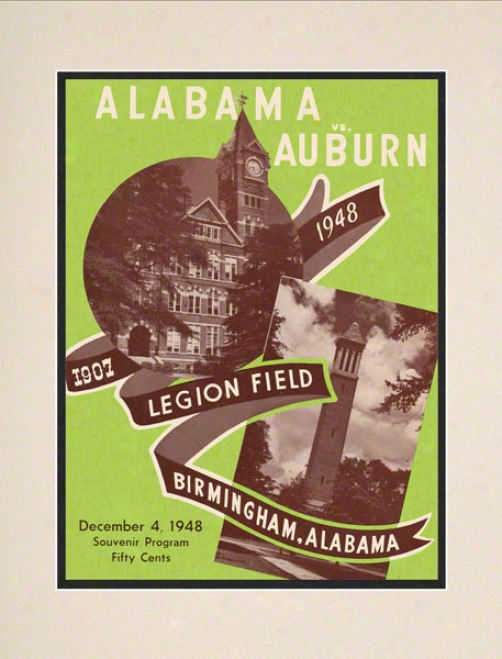 1948 Alabama Vs. Auburn 10.5x14 Matted Historic Football Print