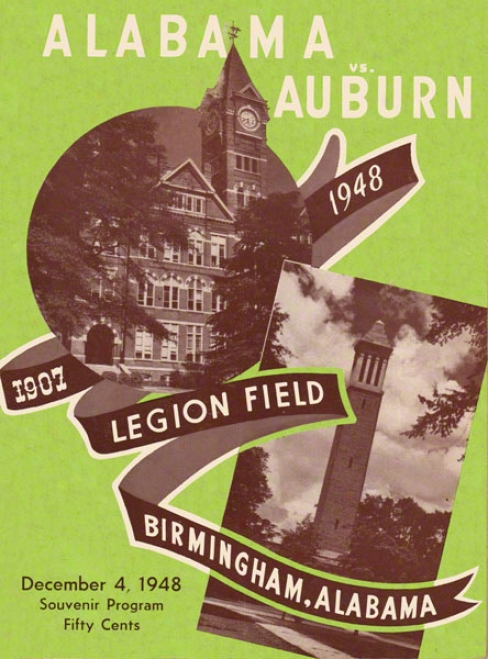 1948 Alabama Vs. Auburn 36 X 48 Canvas Historic Football Print