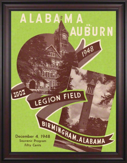 1948 Alabama Vs. Auburn 36 X 48 Framed Canvas Historic Football Print