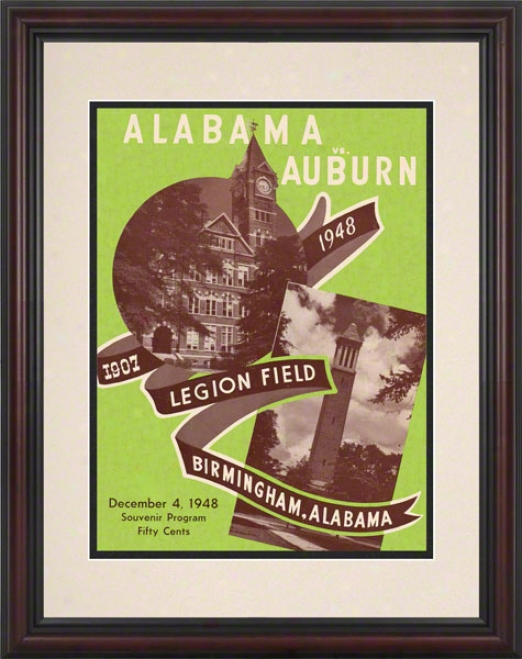 1948 Alabama Vs. Auburn 8.5 X 11 Framed Historic Football Print