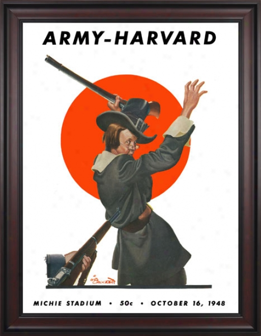 1948 Army Black Knights Vs. Harvard Crimson 36 X 48 Framed Canvas Historic Football Print