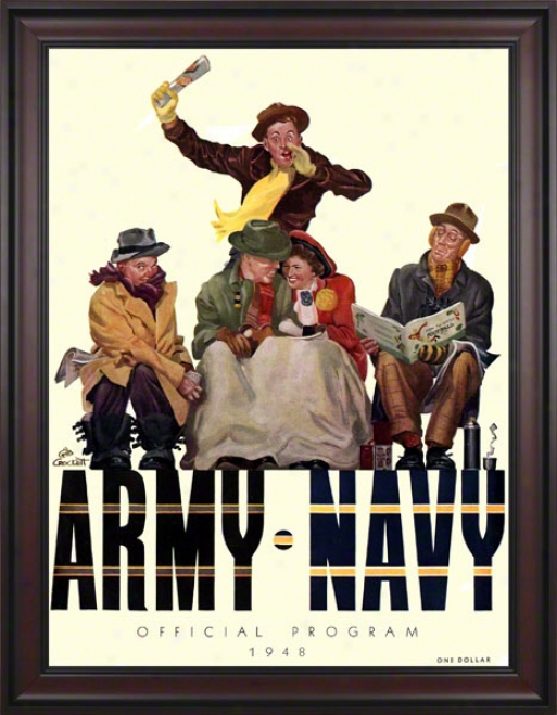1948 Army Vs. Navy 36 X 48 Framed Canvas Historic Football Print