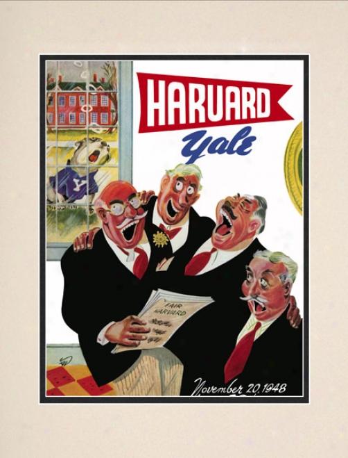 1948 Harvard Crimson Vs. Yalw Bulldogs 10.5x14 Matted Historic Football Print