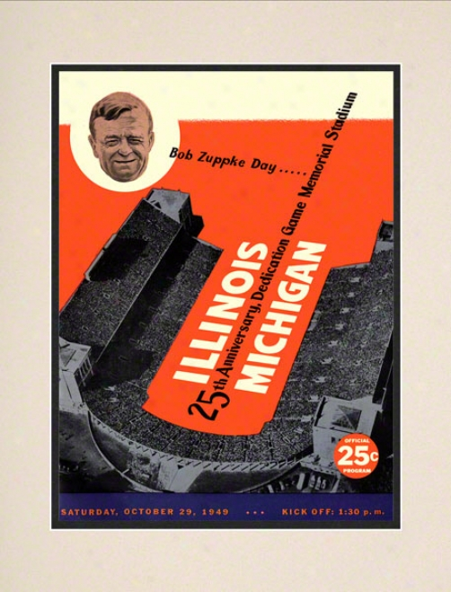1949 Illinois Vs. Michigan 10.5x14 Matted Historic Football Print