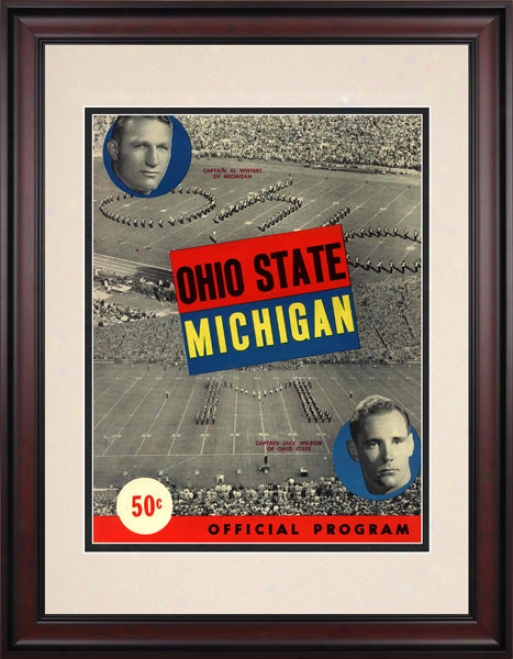 1949 Michigan Wolverines Vs. Ohio State Buckeyes 10.5x14 Framed Historic Football Print