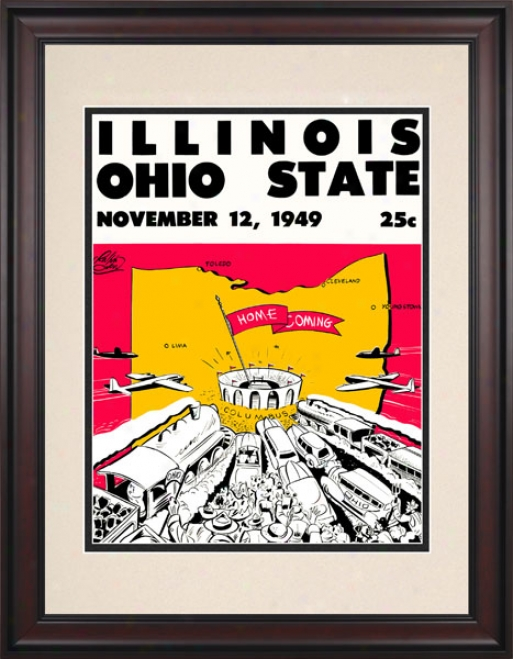 1949 Ohio State Buckeyes Vs. Illinois Contention Illini 10.5x14 Framed Historic Football Print