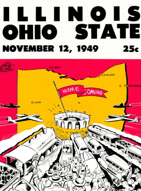1949 Ohio State Buckeyes Vs. Illinois Fighting Illini 36 X 48 Canvas Historic Football Print