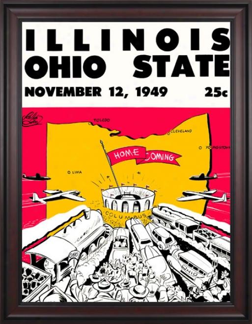 1949 Ohio State Byckeyes Vs. Illinois Fighting Illini 36 X 48 Framed Canvas Historic Football Print