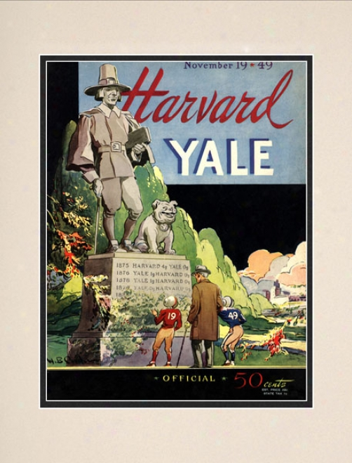 1949 Yale Bulldogs Vs. Harvard Crimson 10.5x14 Matted Histtoric Football Print
