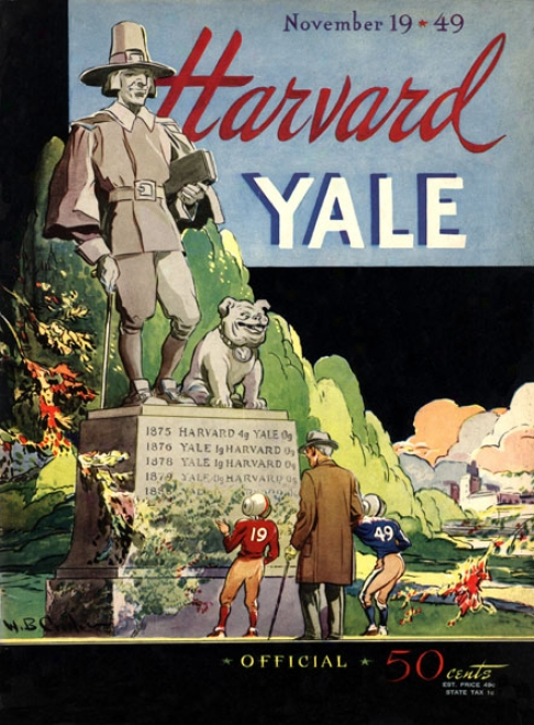 1949 Yale Bulldogs Vs. Harvard Crimson 36 X 48 Canvas Historic Football Print