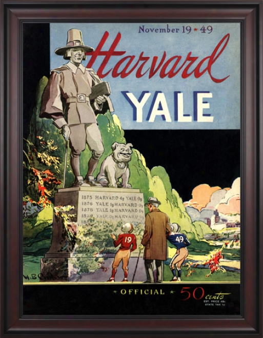 1949 Yale Bulldogs Vs. Harvard Crimson 36 X 48 Framed Canvas Historic Football Print