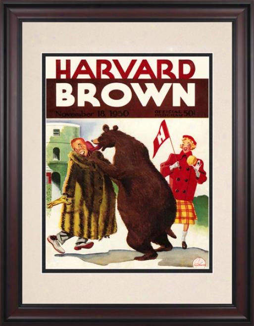 1950 Harvard Crimson Vs. Brown Bears 10.5x14 Framed Historic Football Print